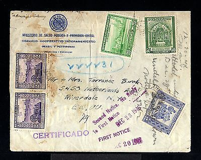 10766-PARAGUAY-REGISTERED COVER ASUNCION to RIVERDALE (usa)1946.WWII.Certificado