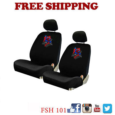 Brand New Spiderman Spider Man 1 2 3 Car Truck Front Low Back Seat Covers