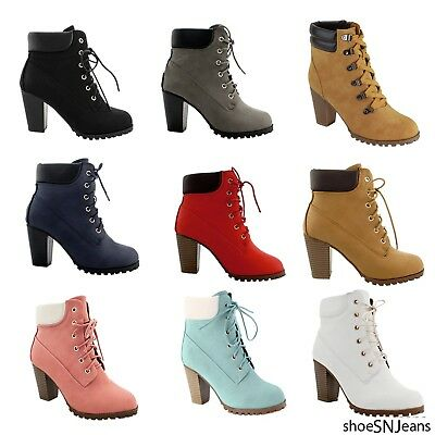 New Women Fashion Padded Collar Ankle Work Booties Lace Up Chunky Heel Shoes