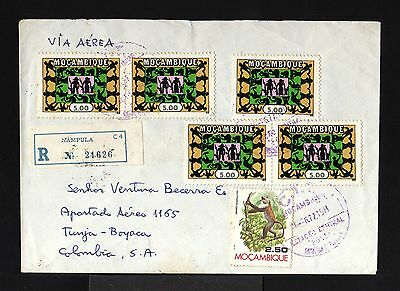 10665-MOÇAMBIQUE-AIRMAIL REGISTER.COVER NAMPULA to BOGOTA(colombia)1977.Portugal