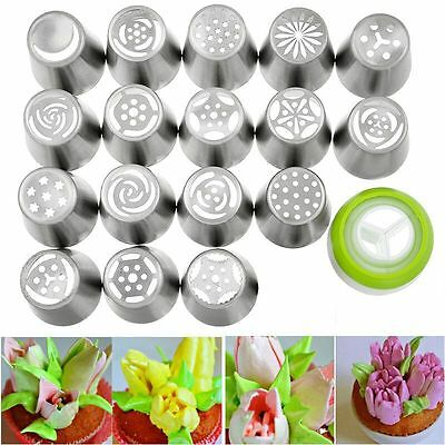 17PC Russian Tulip Flower Icing Piping Nozzles Cake Decorating Pastry Tool Set