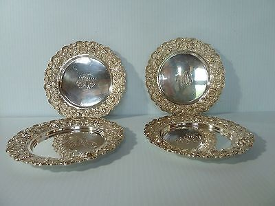"""Stieff """"rose"""" Set 4 """"hand Chased"""" Sterling Bread & Butter Plates, Repousse Rims"""
