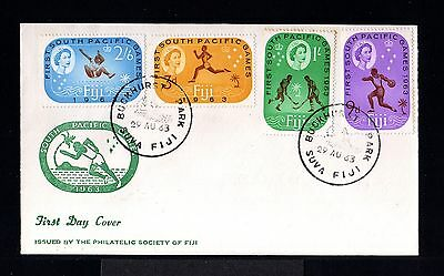 10746-FIJI ISLANDS-FIRST DAY COVER BUCKHURST.1963.BRITISH.Olympic games SET.