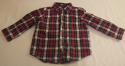 Boys Childrens Place 24 Months Toddler Button Down Long Sleeve Dress Shirt Plaid