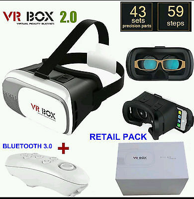 Vr Box 2.0 Google Glasses 3D Card Board Virtual Reality + Bluetooth Remote 3.0