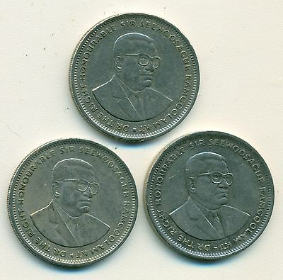 3 DIFFERENT 1 RUPEE COINS from MAURITIUS (1993, 1994 & 1997)