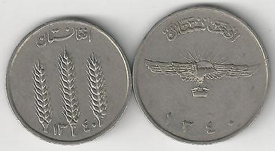2 DIFFERENT COINS from AFGHANISTAN - 1 & 2 AFGHANIS (BOTH DATING 1961)