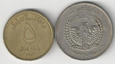 2 DIFFERENT 5 AFGHANI COINS from AFGHANISTAN - 1973 & 2004 (2 TYPES)