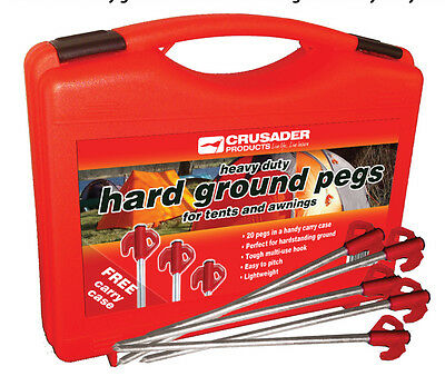 Crusader H/Duty Hard Ground Tents & Awnings Pegs - Red Tops x 20 With Carry Case