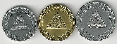 3 COINS from NICARAGUA - 25 & 50 CENTAVOS and 1 CORDOBA (ALL DATING 2007)