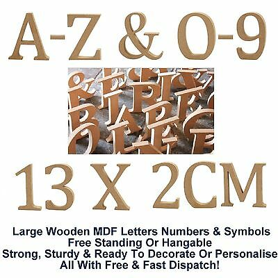 Freestanding Hanging Mdf Wooden Alphabet A-Z Letters Numbers Symbols 13cm X 2cm