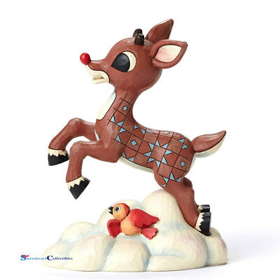 Jim Shore 4053074 Rudolph red Nose Reindeer Flying Above Clouds