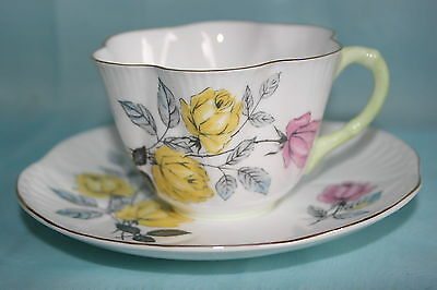 Vintage Shelley fine bone china dainty cup saucer -Pink/Yellow Roses, Green hndl