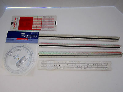 Lot of 3 sided rulers, pocket metric convertor & proportional scale wheel. slide
