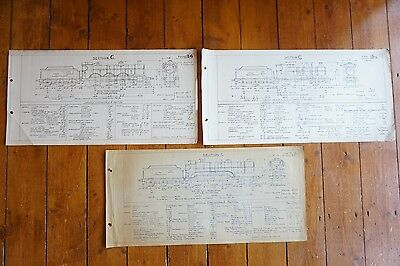 Section C Types B & D Locomotive Loco Railway Technical Drawing x3