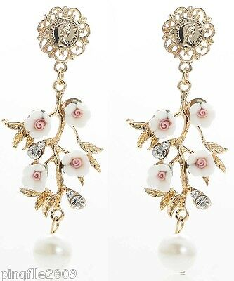 New Pearl Rose White Crystal Ancient Gold Drop/Dangle Long Earring 7.9cm E1102