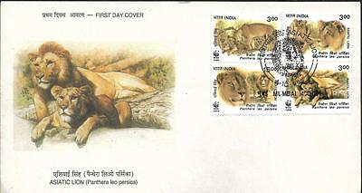 India, 1999 Wwf, Asiatic Lion Issue, Illustrated Fdc.