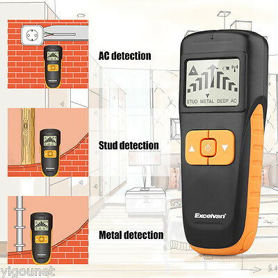 LCD 3-in-1 Multi-function Detector Metal Stud Deep AC Live Wire Cable Scanner UK