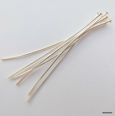 100 Silver Plated Head Pins Thin Hard 2'' X  0.6 Thick Wire  Top Quality