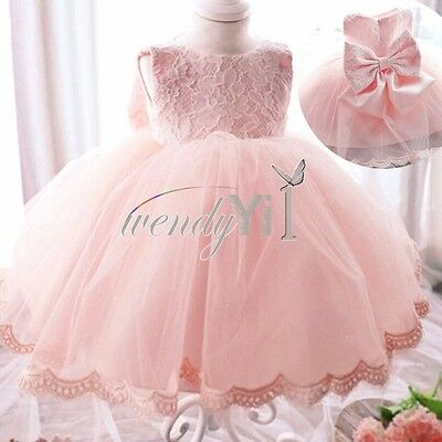 Fashion Baby Girl Pageant Bridesmaid Flower Girls Party Wedding Lace Gown Dress