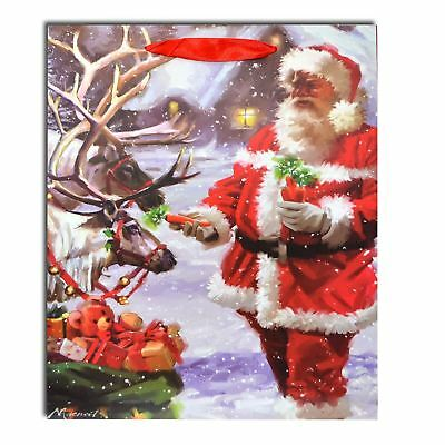 1 x Small Luxurious Christmas Red Santa Gift Bag Strong Paper Bags