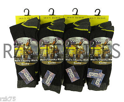 12 Pairs Men's Chunky Work Boot Socks, Cushion Sole Reinforced Toe, UK Size 6-11