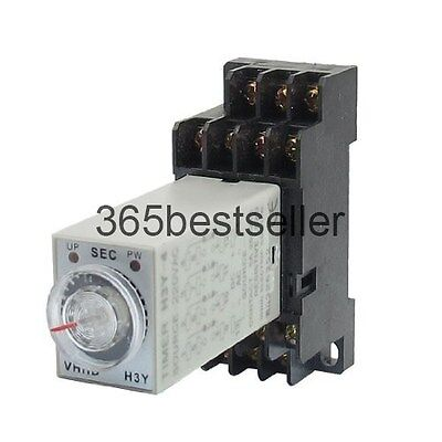 DC 24V 14 Pins 4PDT 0-1S Timer Delay DIN Rail Time Relay H3Y-4 w  with Base