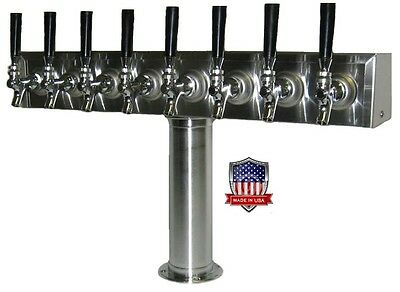 Stainless Steel Draft Beer Tower Made in USA - 8 Faucets - Air Cooled -TT8CR-