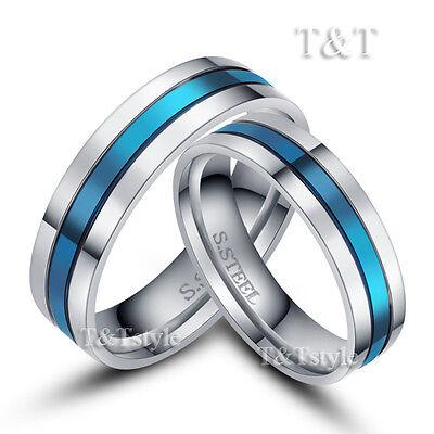 BRILLANT T&T 6mm 316L Stainless Steel Blue Stripe Wedding Band Ring For Couple