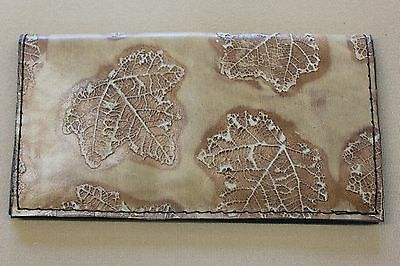 Exotic Tan Maple Leaf Embossed  Leather Check Book Cover Free Shipping