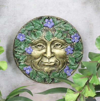 Bronzed Blooming Foliage Spring Celtic Greenman Wall Decor Periwinkle Flowers