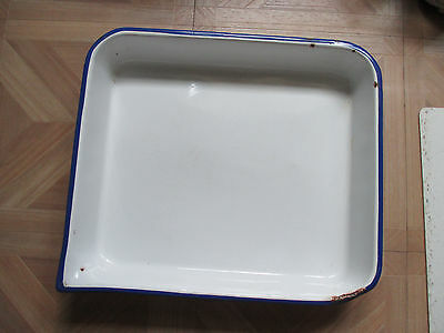 Large vintage white enamel pan with pouring spout and french blue edge