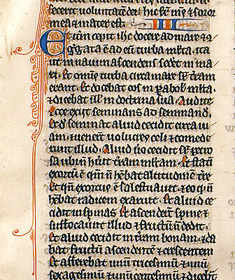 MEDIEVAL ILLUMINATED MANUSCRIPT BIBLE LEAF France, c.1260 - MARK 3-5 PARABLES