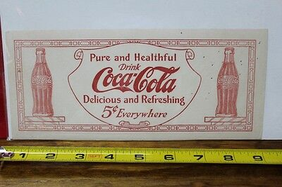 1917 Coca Cola Bottle Ink Blotter Delicious and Refreshing Pure and Healthful