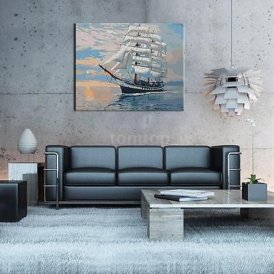 Modern Sailing Ship DIY Digital Oil Paint By Number On Canvas Home Decor O9L5