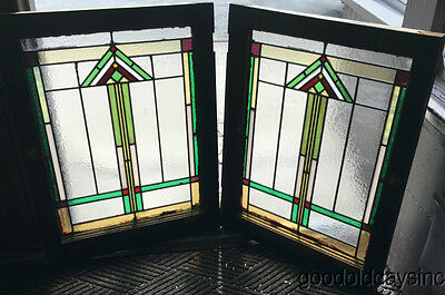 """2 Wonderful Prairie Style Arts & Crafts Stained Leaded Glass Windows 28"""" by 22"""""""