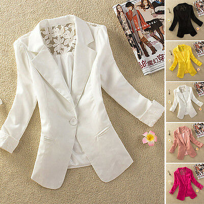 Women's One Button Lace Floral OL Business Blazer Suit Jacket Coat Outwear LH1