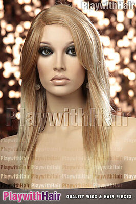 Sleek Straight Heat Friendly Wig MONO PART Strawberry Blonde Tip