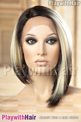 Straight Asymmetrical Lace Front Bob Wig Black Blonde Regrowth Ombre