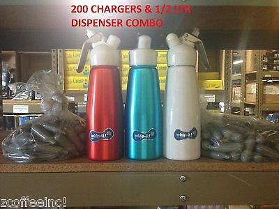 100 Whip Cream Chargers Nitrous Oxide N2O whipped whippet DISPENSER COMBO