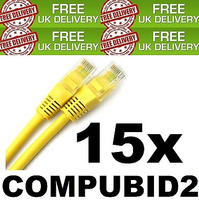 15x NEW 0.5 METRE JOBLOT RJ45 UNSHIELDED CABLE YELLOW CAT5E PATCH CORD STRAIGHT