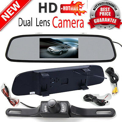 "4.3"" TFT LCD Monitor Mirror Car Rear View Backup Reverse Camera Kit Night Vision"