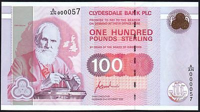 1996 CLYDESDALE BANK PLC £100 BANKNOTE * A/AN 000057 * LOW NUMBER * aUNC *