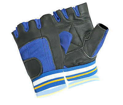 Real Leather Gym Gloves Weight Lifting Half Finger Padded Palm Work Out Cycling