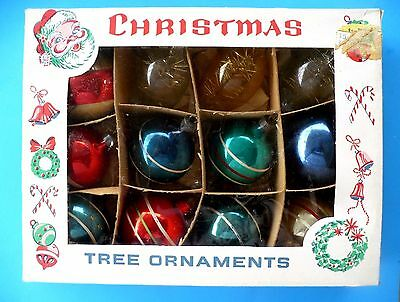 12 Vintage Christmas Small Glass Ornaments Stripes Tinsel In Box