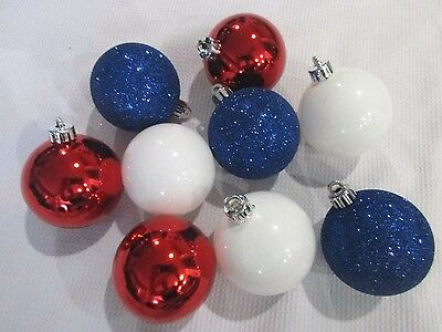 """Patriotic 4th Of July Glitter Blue Red White Ball 2.5"""" Ornaments Decorations (9)"""