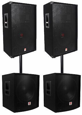 "(2) Rockville RSG15 15"" 3000w Passive DJ/Pro Audio PA Speaker+(2) 15"" Subwoofers"