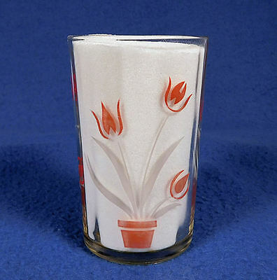 """Swanky  Swiggs  - 'RED TULIPS'   3 1/2"""" Tall   Red  & White on Clear Glass"""
