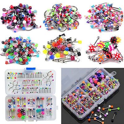 60Pcs Wholesale Lots Mixed Lip Piercing Body Jewelry Barbell Rings Tongue Ring