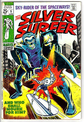SILVER-SURFER #5 (VG+) The Stranger! + Fantastic Four Appearance! 1969 Classic!